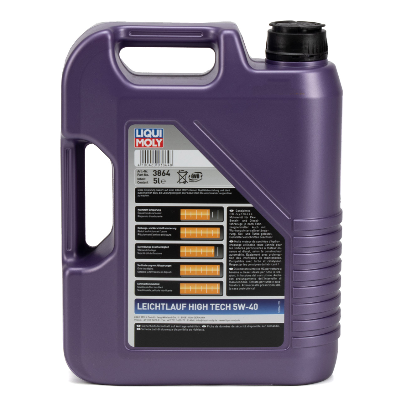 LIQUI MOLY Motoröl Öl Leichtlauf HIGH TECH 5W40 BMW LL-01 MB 229.5 - 5L 5 Liter
