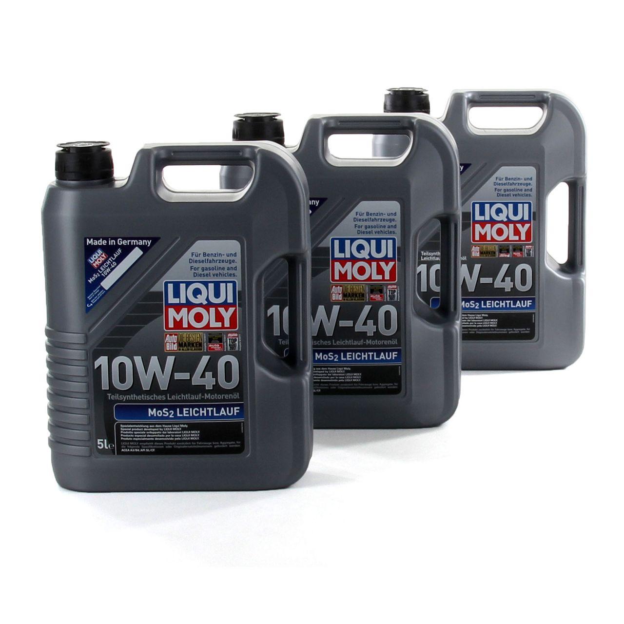 LIQUI MOLY Motoröl Öl MoS2 LEICHTLAUF 10W40 10W-40 15L 15 Liter 1092