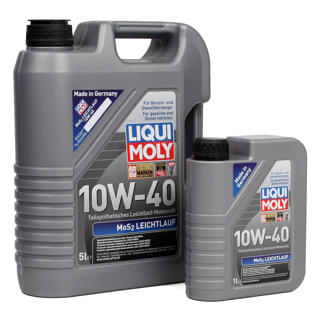 LIQUI MOLY Motoröl Öl MoS2 LEICHTLAUF 10W40 10W-40 6L 6Liter 1091 + 1092