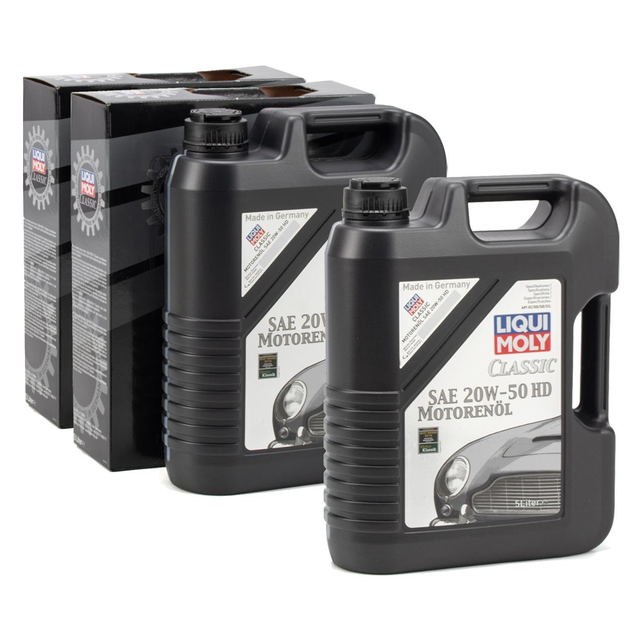 LIQUI MOLY Motoröl Öl CLASSIC 20W-50 20W50 HD Oldtimer Youngtimer - 10L 10 Liter