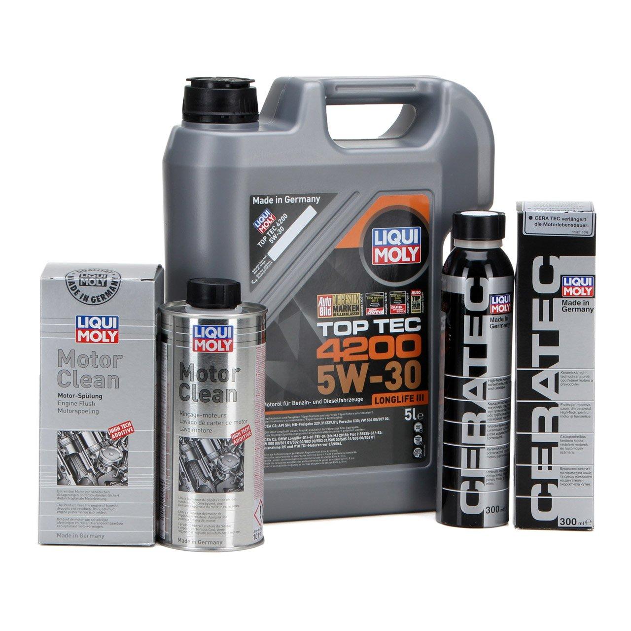 LIQUI MOLY 5 L Motoröl Öl TOP TEC 4200 5W30 + CeraTec Additiv + Motor Clean