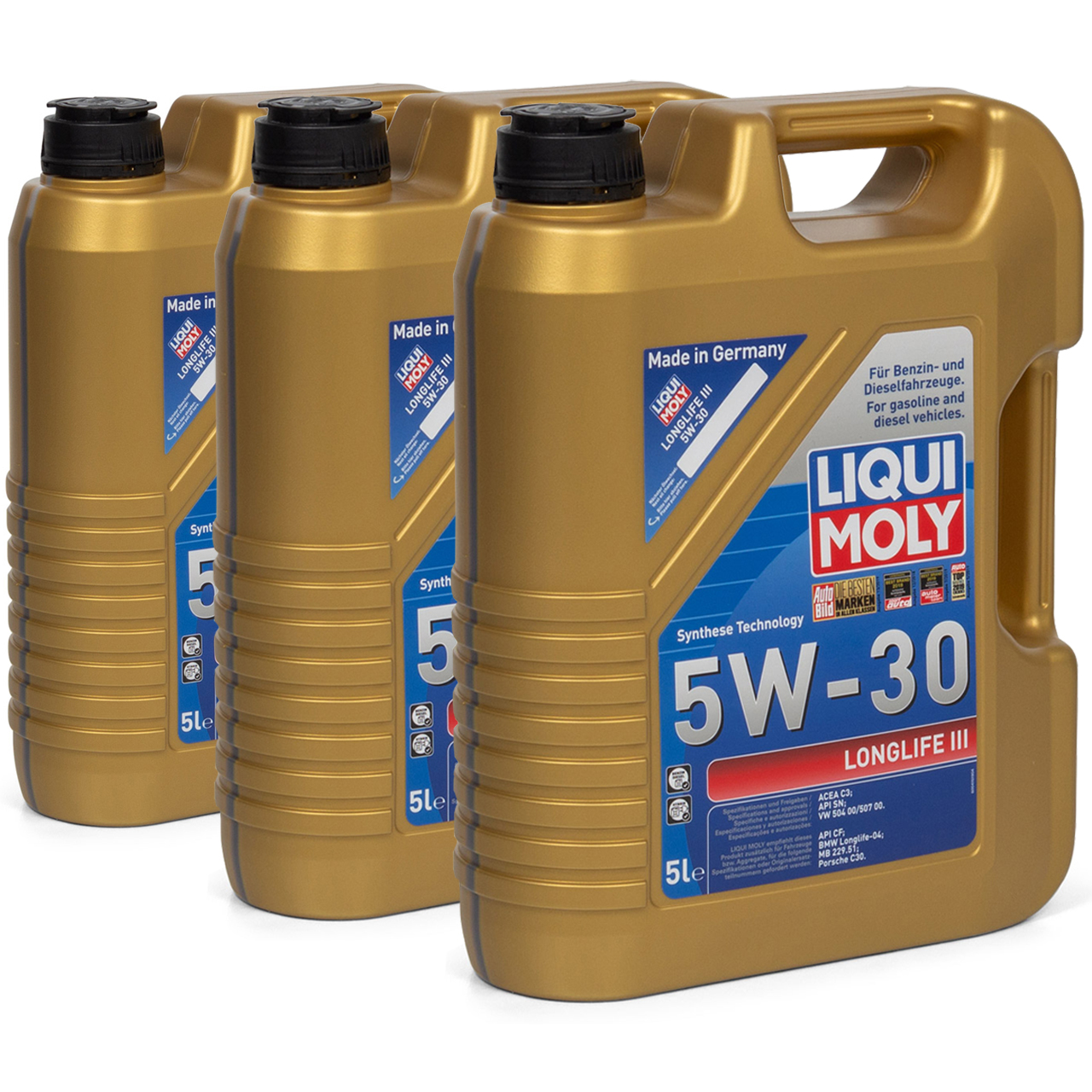 LIQUI MOLY 20647 Motoröl Öl 5W30 LONGLIFE III VW 504/507.00 LL04 MB 229.51 - 15L