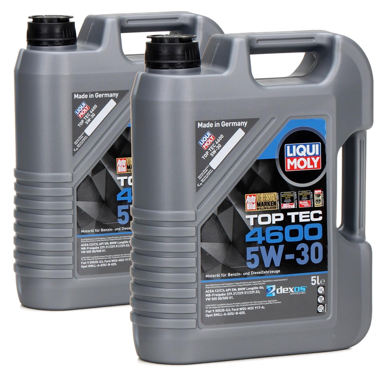 LIQUI MOLY Motoröl 5W30 TOP TEC 4600 dexos2 BMW LL-04 VW 505.00/01 - 10 Liter