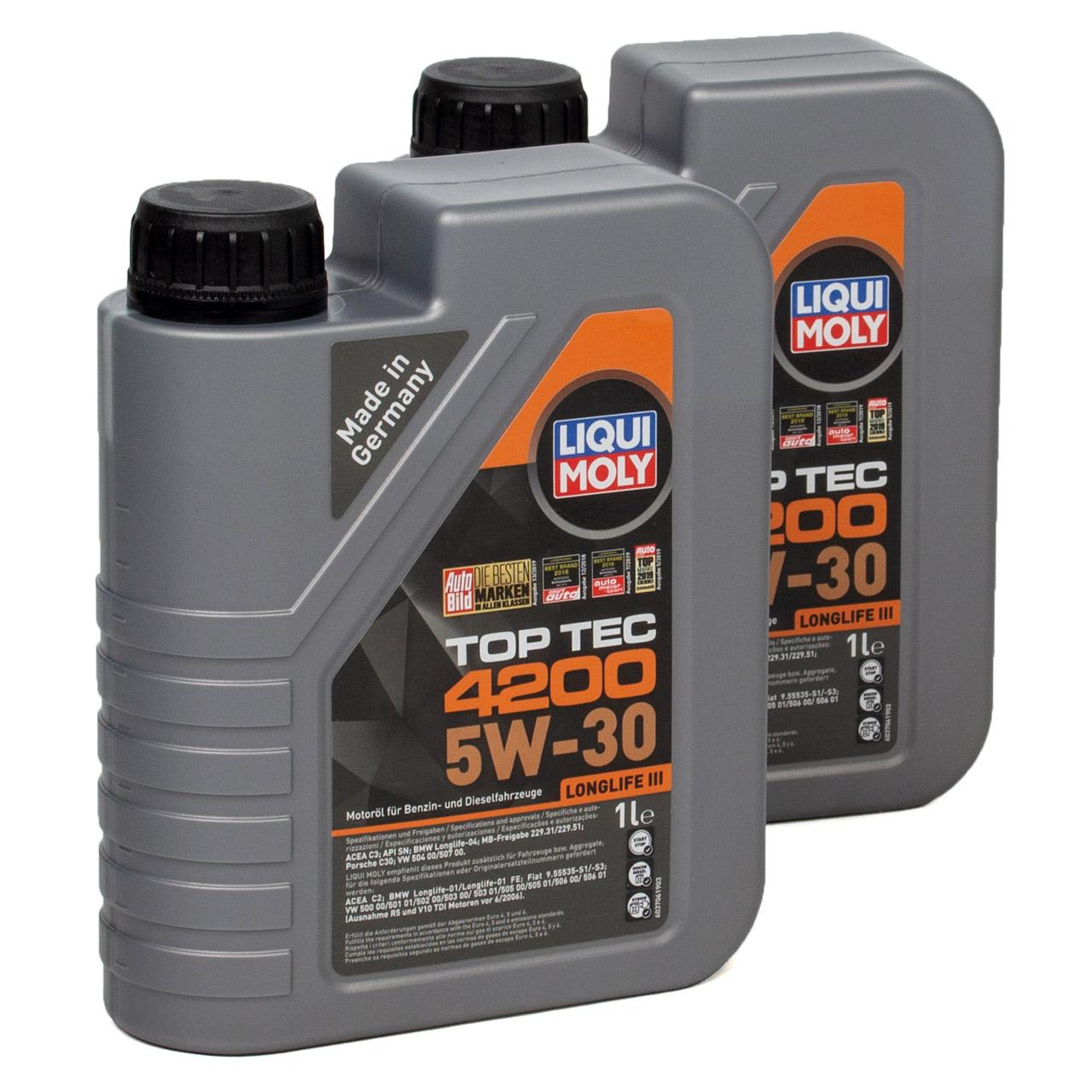 LIQUI MOLY 2L 2 Liter Motoröl Öl TOP TEC 4200 5W30 5W-30 3707 VW 504.00 507.00