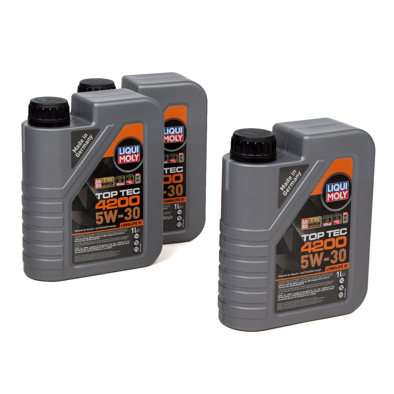 LIQUI MOLY 3L 3 Liter Motoröl Öl TOP TEC 4200 5W30 5W-30 3707 VW 504.00 507.00