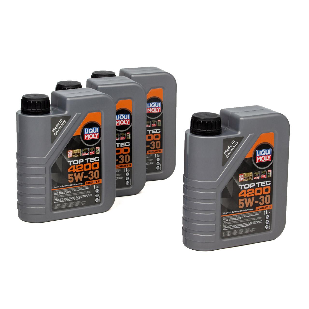 LIQUI MOLY 4L 4 Liter Motoröl Öl TOP TEC 4200 5W30 5W-30 3707 VW 504.00 507.00