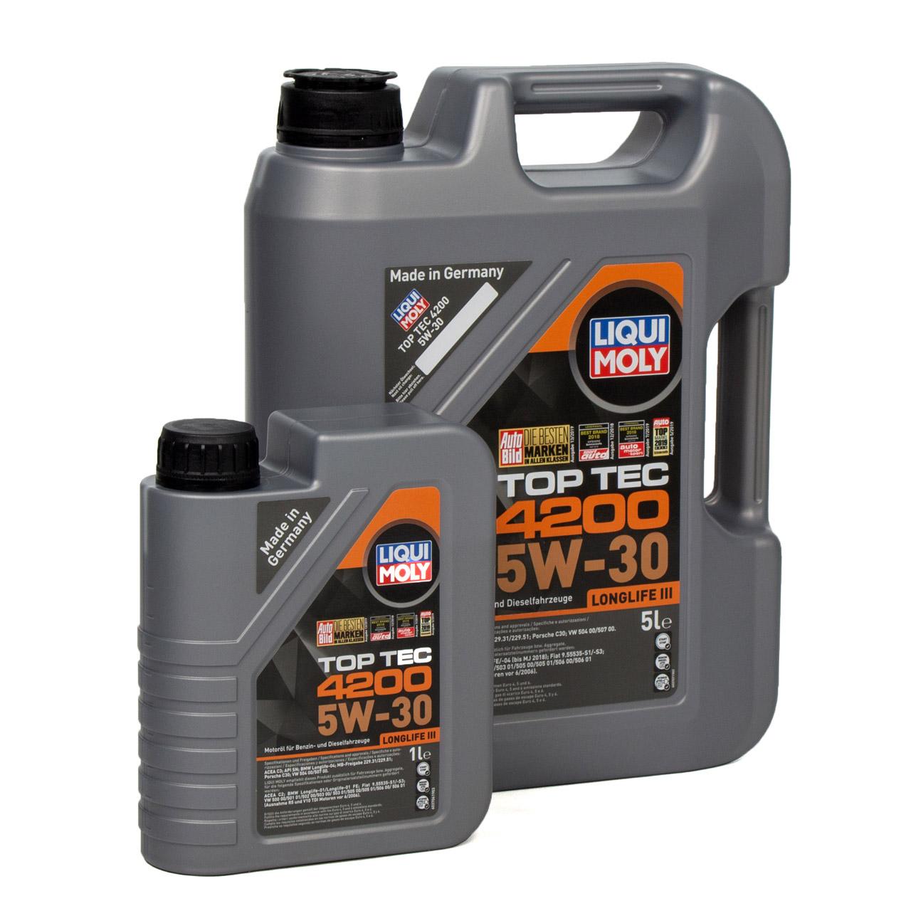 LIQUI MOLY 6L 6 Liter Motoröl Öl TOP TEC 4200 5W30 5W-30 3707 VW 504.00 507.00
