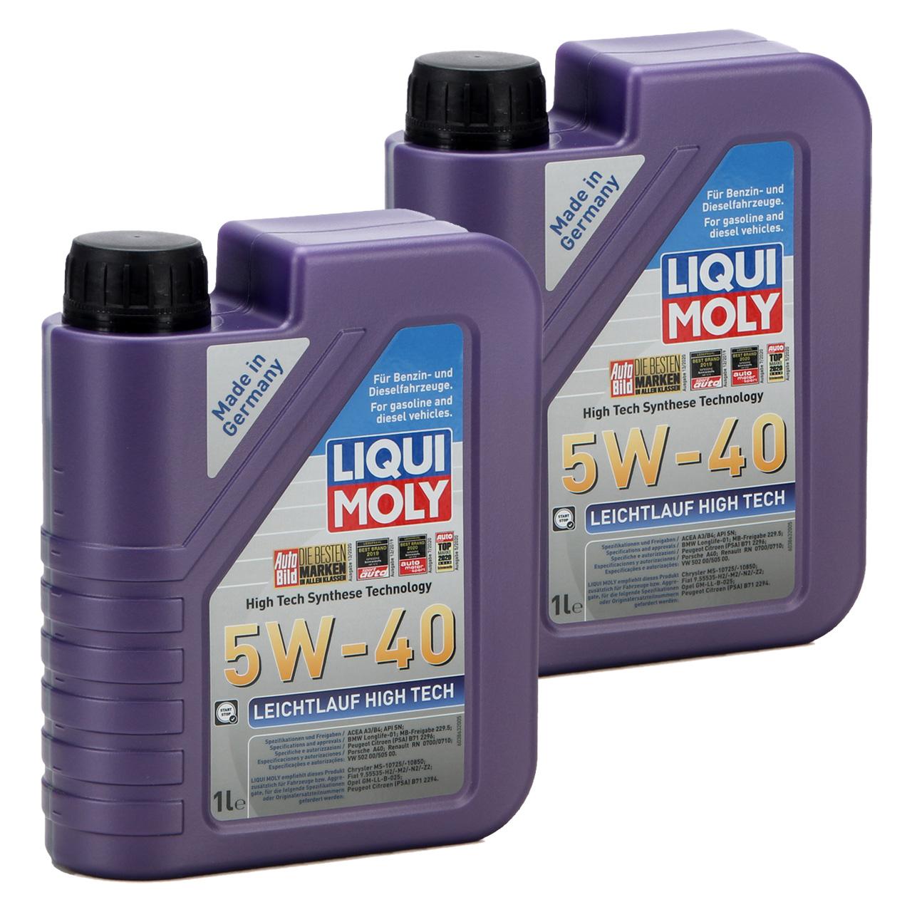 LIQUI MOLY Motoröl Öl Leichtlauf HIGH TECH 5W40 BMW LL-01 MB 229.5 - 2L 2 Liter