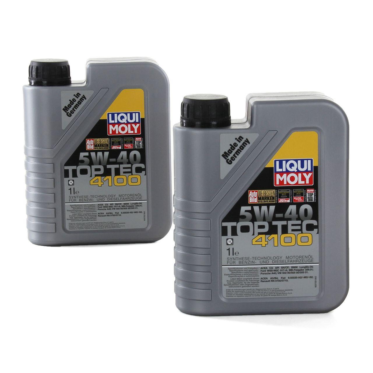 LIQUI MOLY Motoröl Öl TOP TEC 4100 5W40 5W-40 2L 2Liter 3700