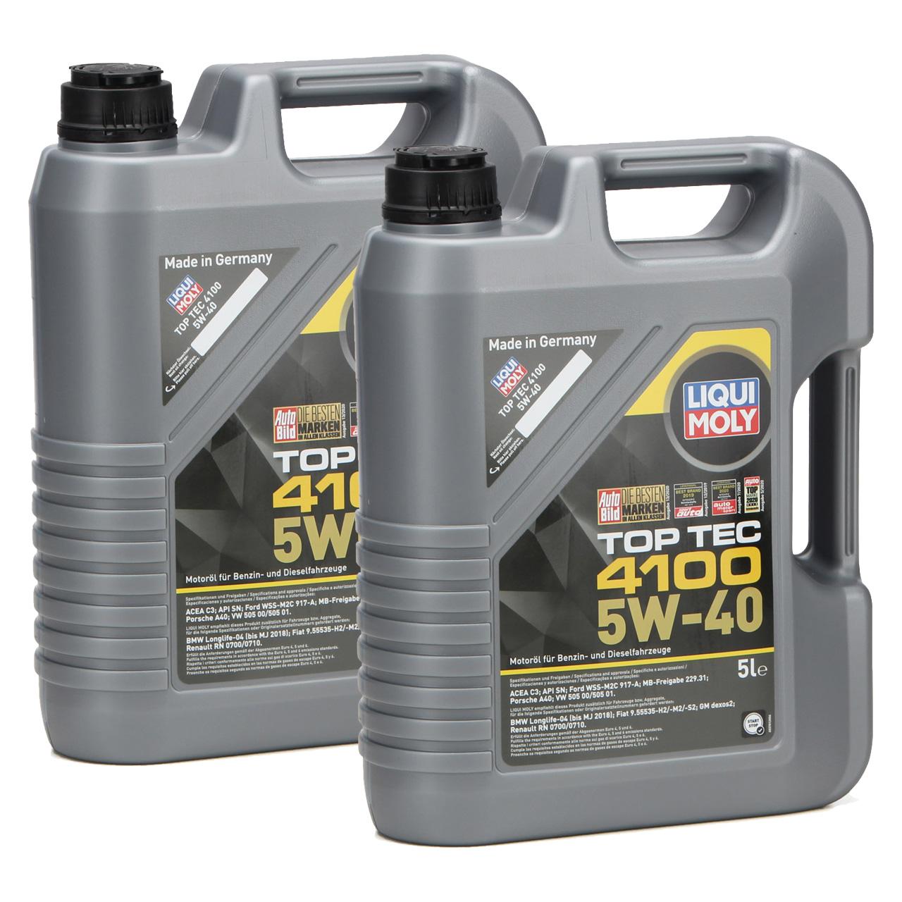 LIQUI MOLY Motoröl Öl TOP TEC 4100 5W40 5W-40 10L 10Liter 3701