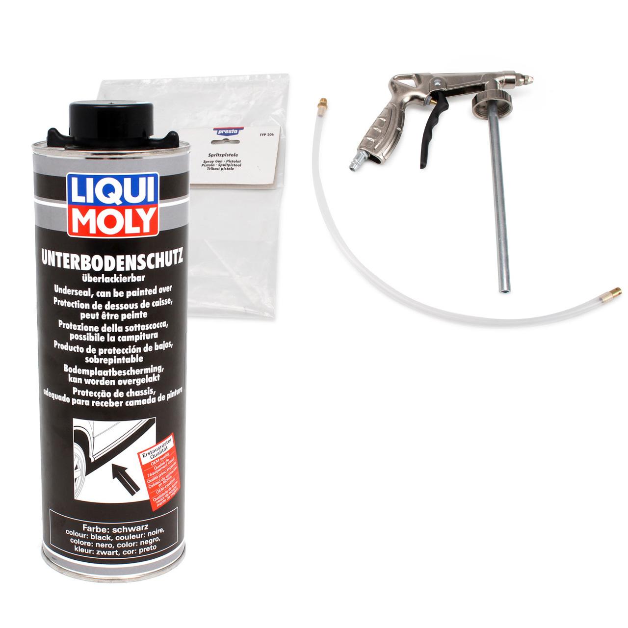 LIQUI MOLY Unterbodenschutz Saugdose lackierbar SCHWARZ 1 Liter + Sprühpistole
