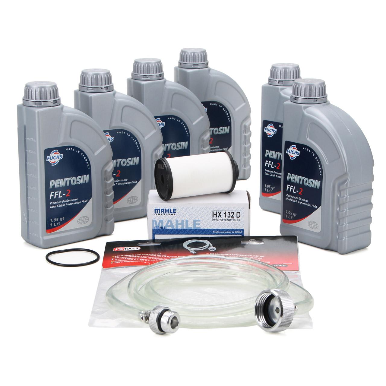 FUCHS Pentosin Getriebeöl DSG FFL-2 - 6L + MAHLE Getriebefilter + Befüllschlauch