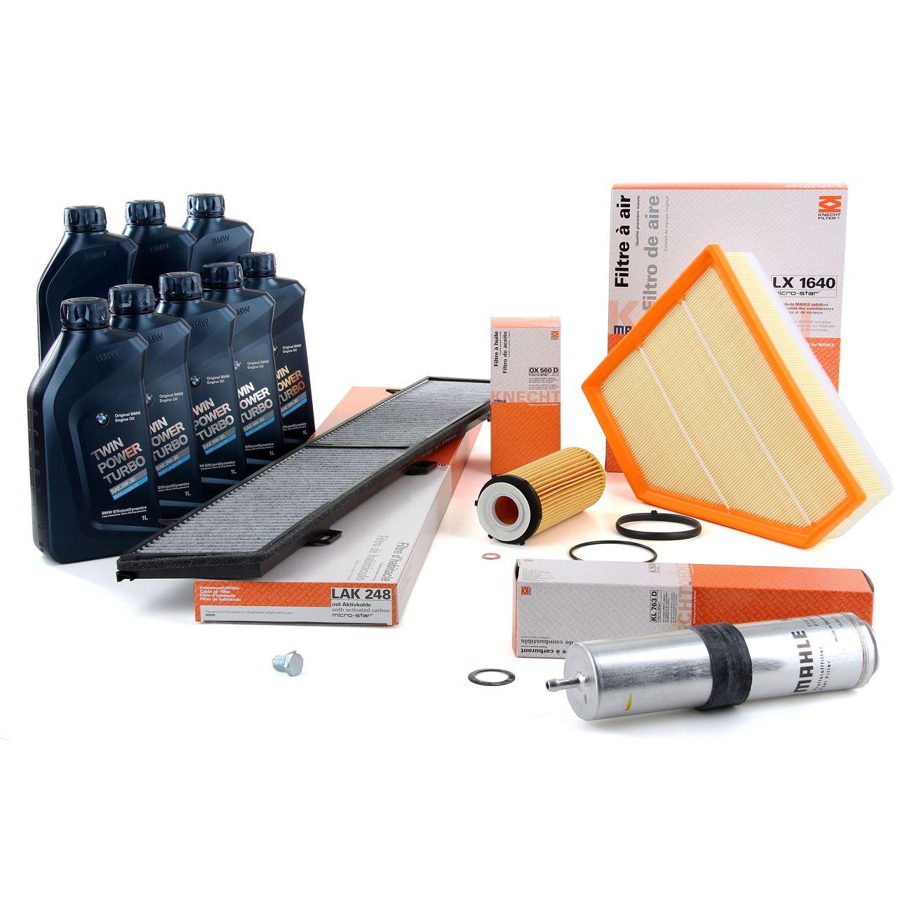 KNECHT / MAHLE Filterset + 8 L ORIGINAL BMW 5W30 Motoröl für E90 E91 E92 E93 325d 330d