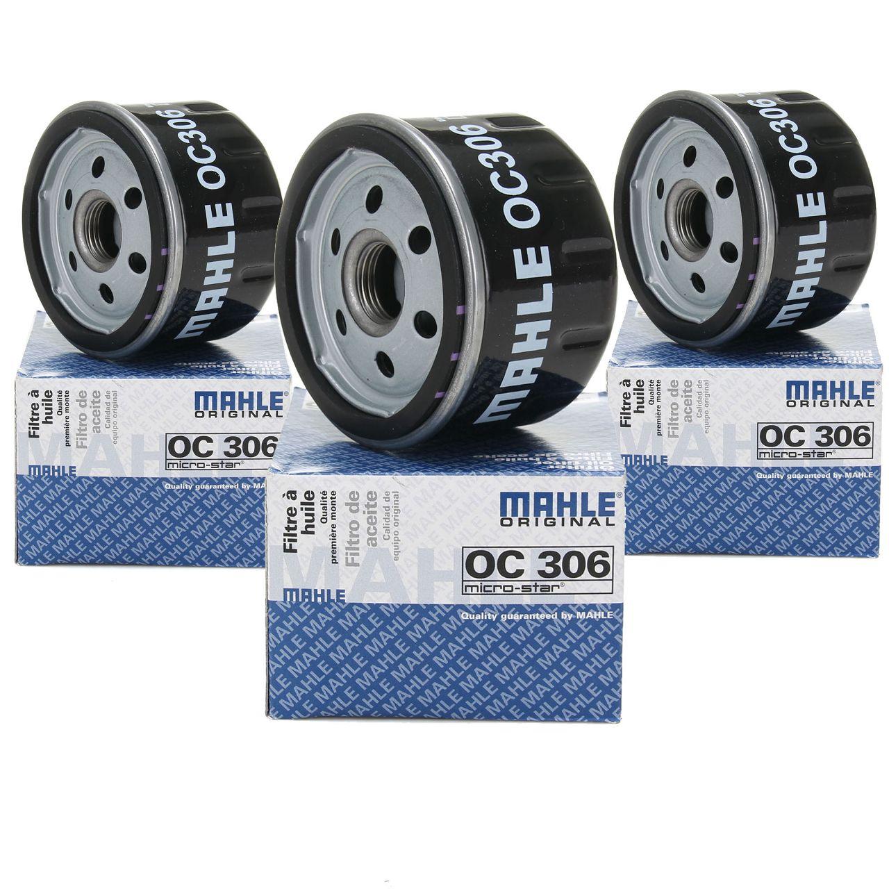3x KNECHT / MAHLE OC306 Ölfilter Motorölfilter für BMW i3 (I01) 102/170/184 PS