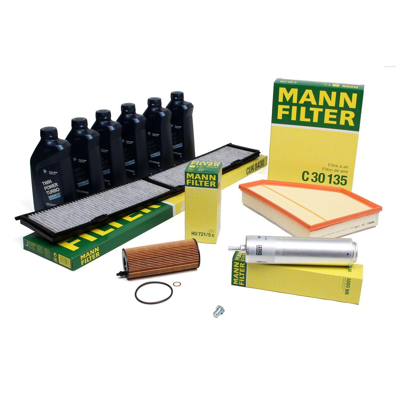 MANN Filterset + 6 L ORIGINAL BMW 5W30 Motoröl 3er E90 E91 E92 E93 316-320d bis 01.2010