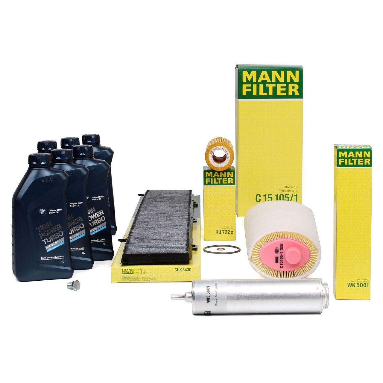 MANN Inspektionskit + 6 L ORIGINAL für BMW 5W30 Motoröl 3er E90 E91 318d 320d