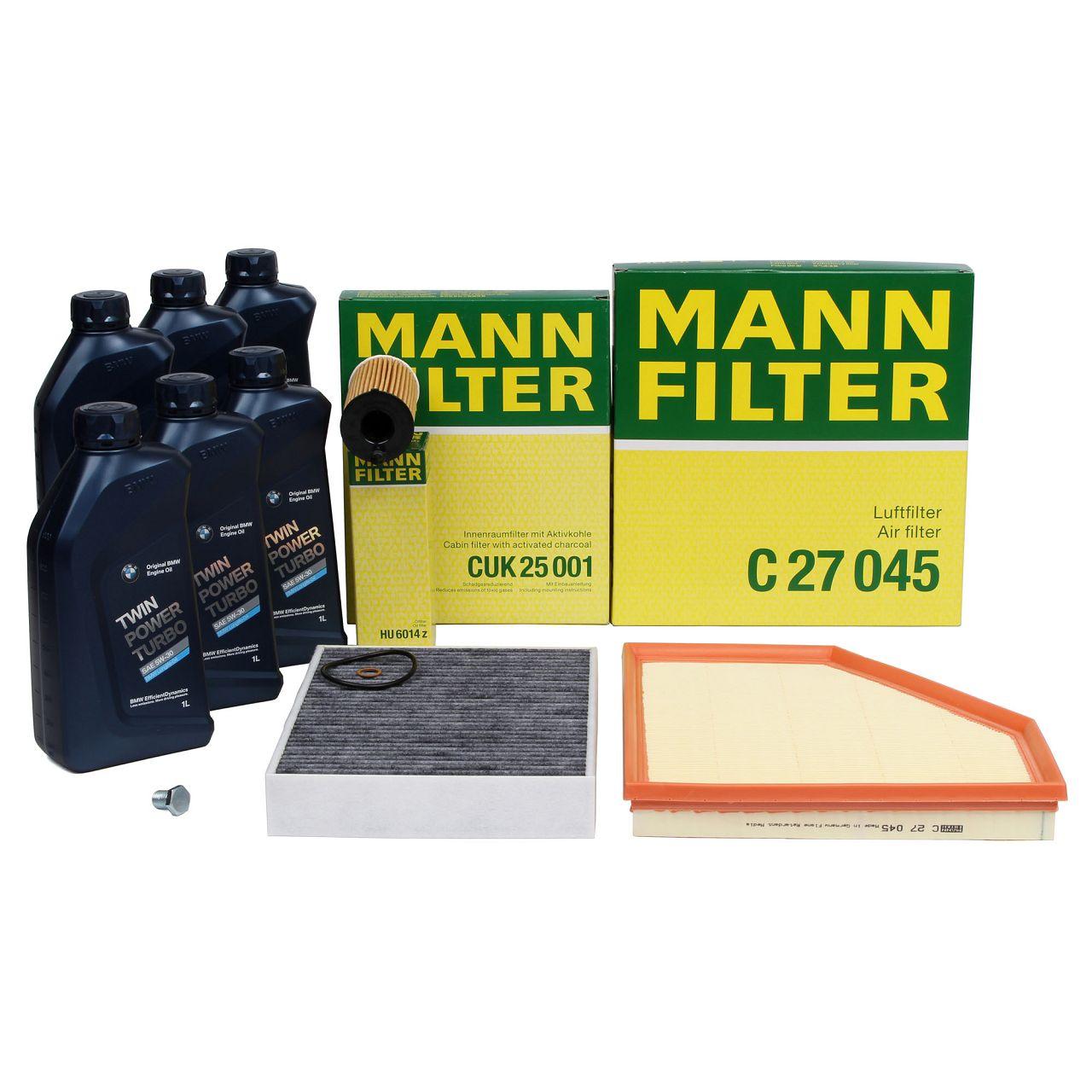 MANN Inspektionskit + 6 L ORIGINAL BMW 5W30 Motoröl für F20 120i 125i 220i 230i F30 330i