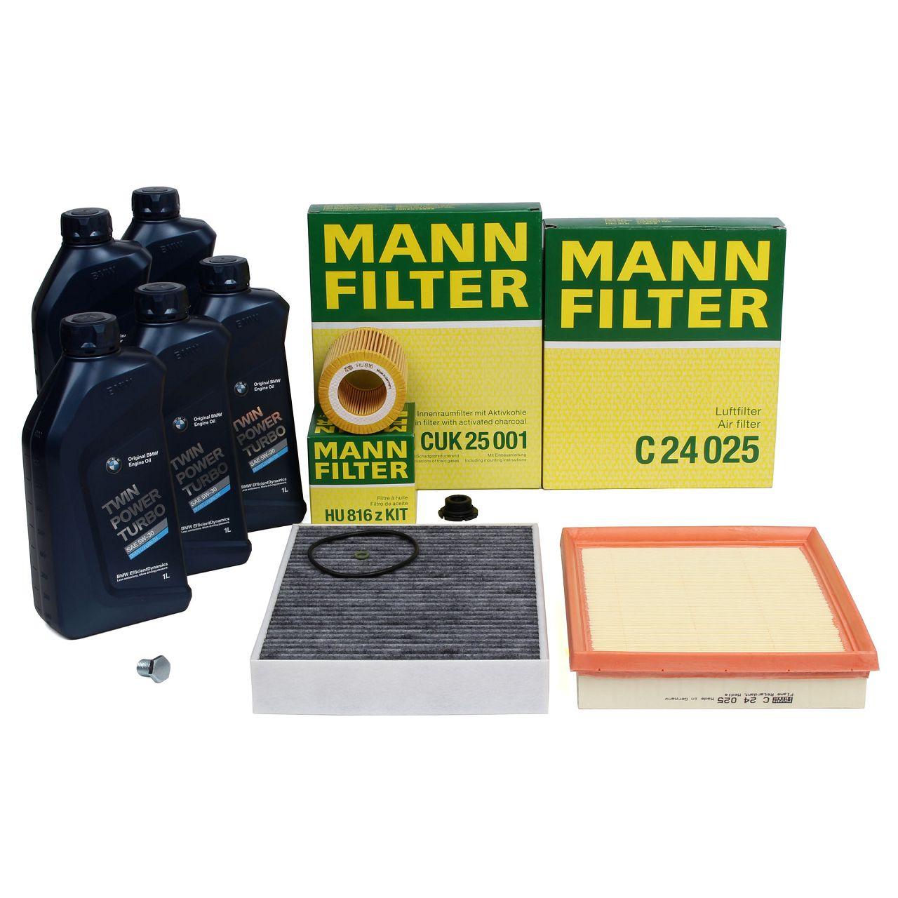 MANN Filterset + 5 L ORIGINAL BMW 5W30 Motoröl für 3er F30 F31 F34 320i 328i
