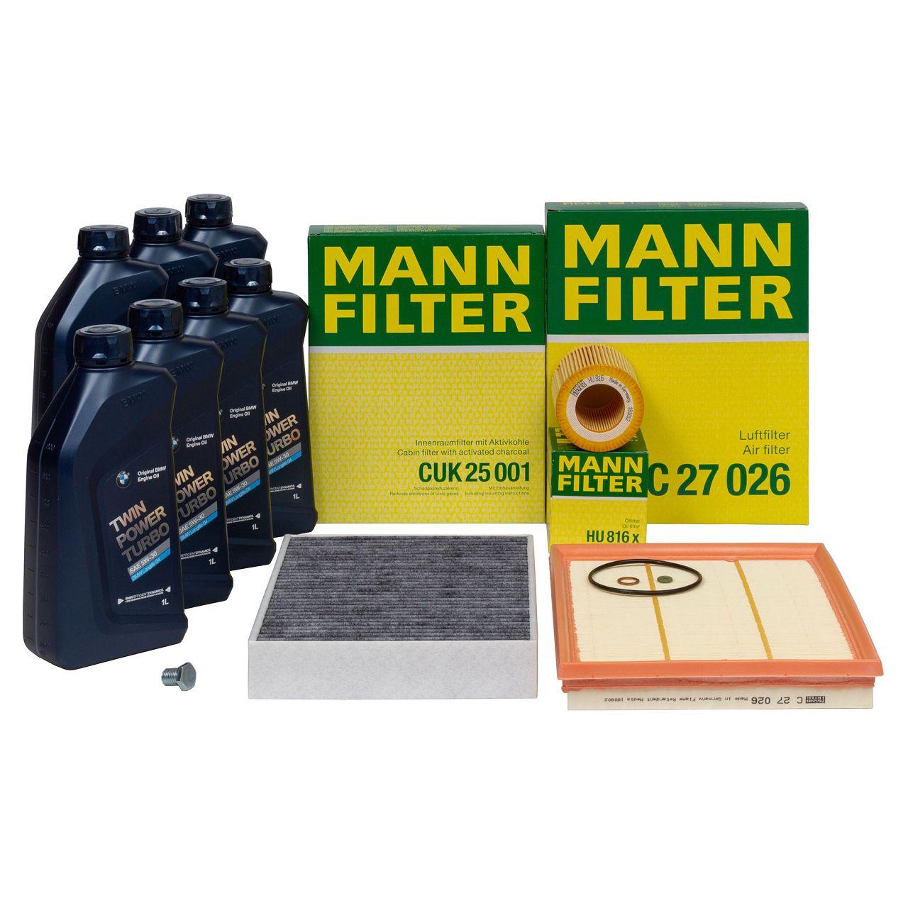 MANN Inspektionskit + 7 L ORIGINAL BMW 5W30 Motoröl für F20 F21 M135i M235i 335i 435i