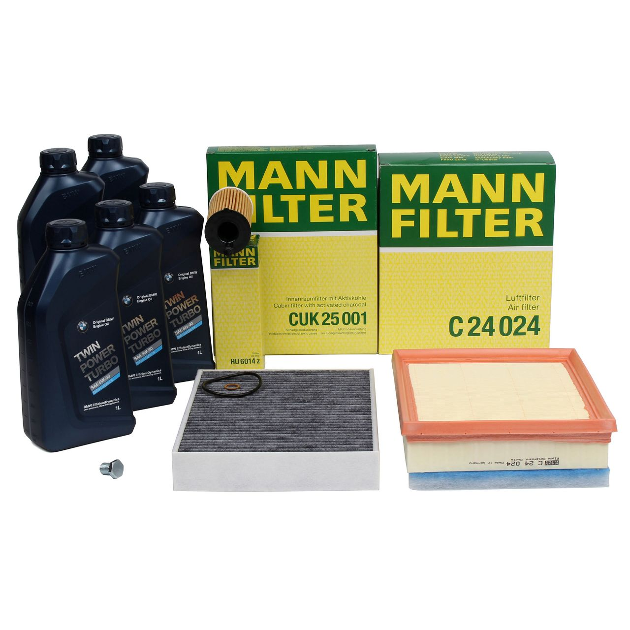 MANN Filterset + 5 L ORIGINAL BMW 5W30 Motoröl für 3er F30 F31 F34 316d 320d