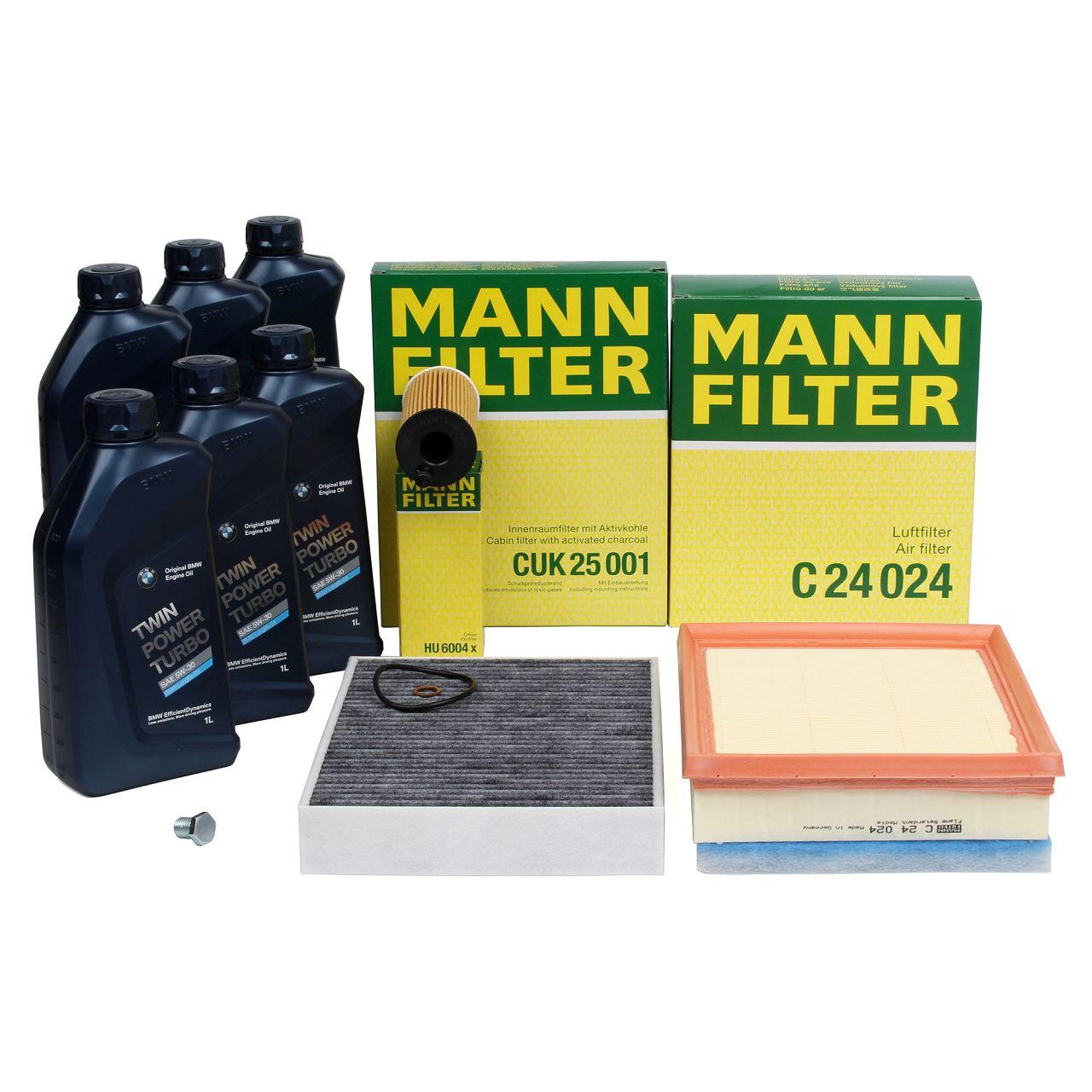 MANN Filterset + 6 L ORIGINAL BMW 5W30 Motoröl F20 116-125d F30-34 316-325d F33 418-420d