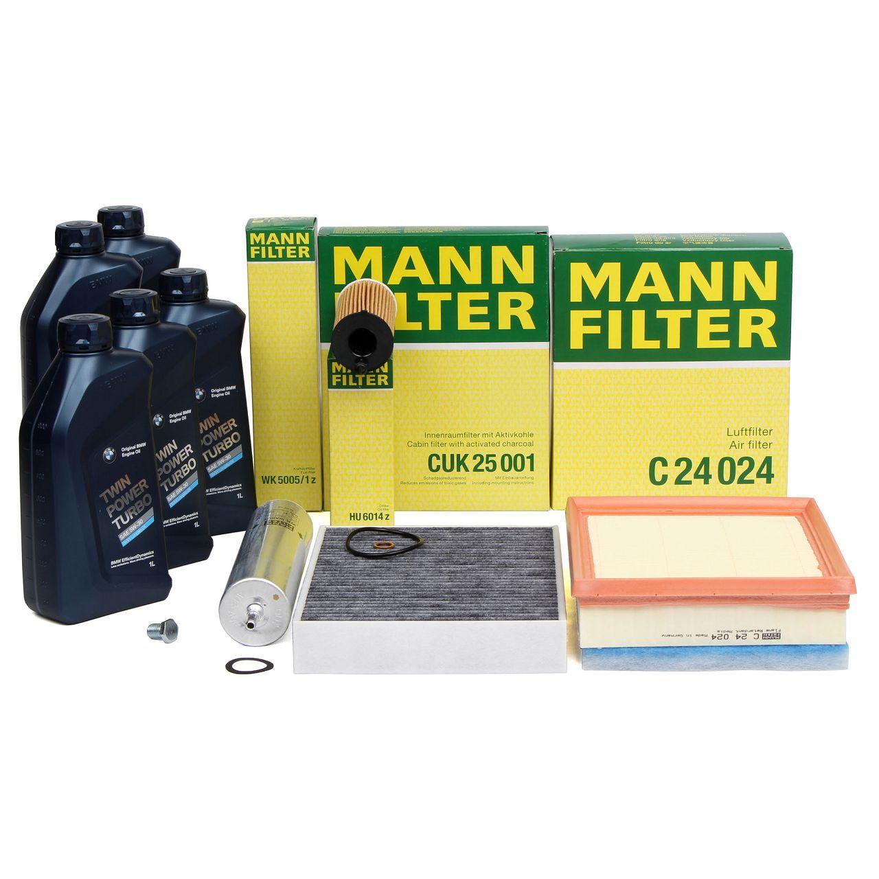MANN Filterset + 5 L ORIGINAL BMW 5W30 Motoröl für 114-125d 218-225d 316-325d