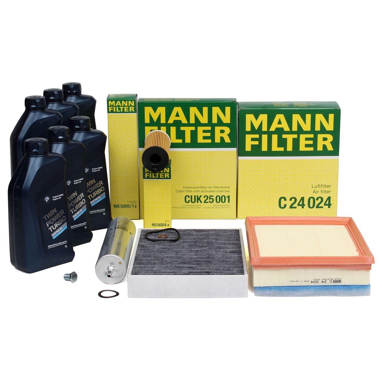 MANN Filterset + 6 L ORIGINAL BMW 5W30 Motoröl für 114-125d 218-225d 316-325d