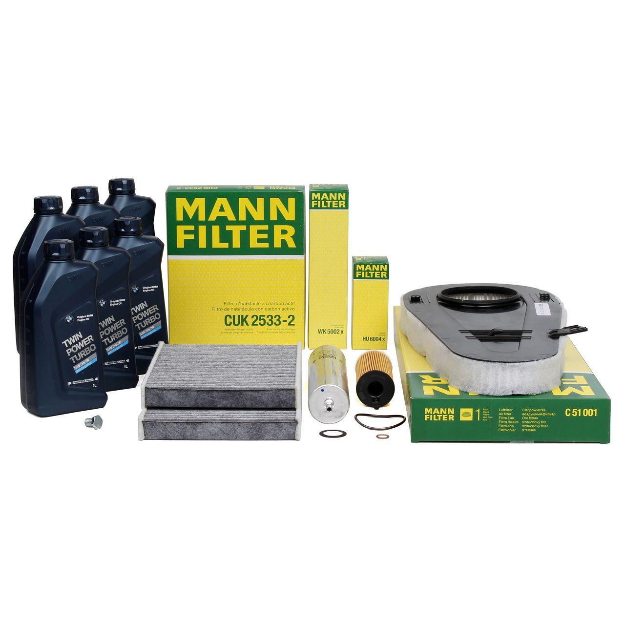 MANN Filterset + 6 L ORIGINAL BMW Motoröl 5W30 für F10 F11 F07 518d 520d 525d