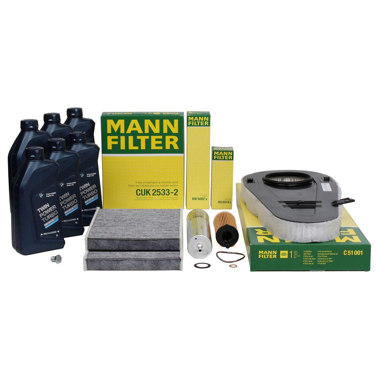 MANN Filterset + 6 L ORIGINAL BMW 5W30 Motoröl für F10 F11 518d 136 PS B47D20A
