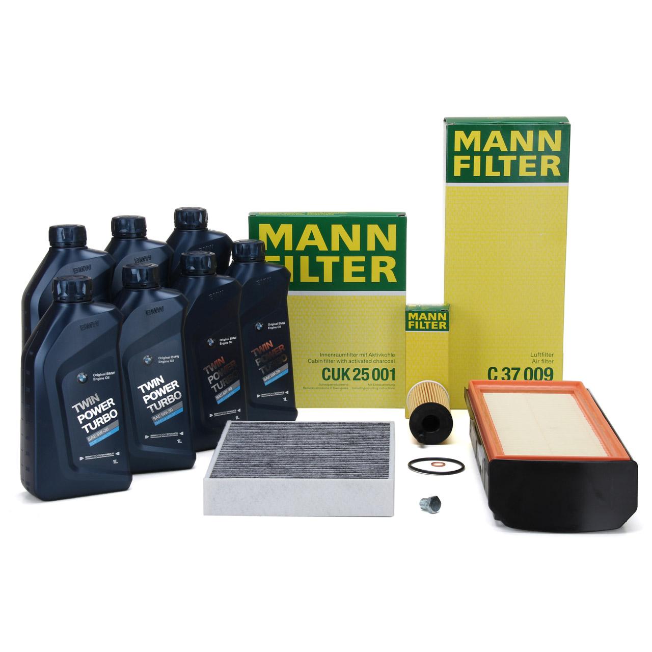MANN Filterset + 7 L ORIGINAL BMW 5W30 Motoröl für 3er F30 F31 F34 330d 335d