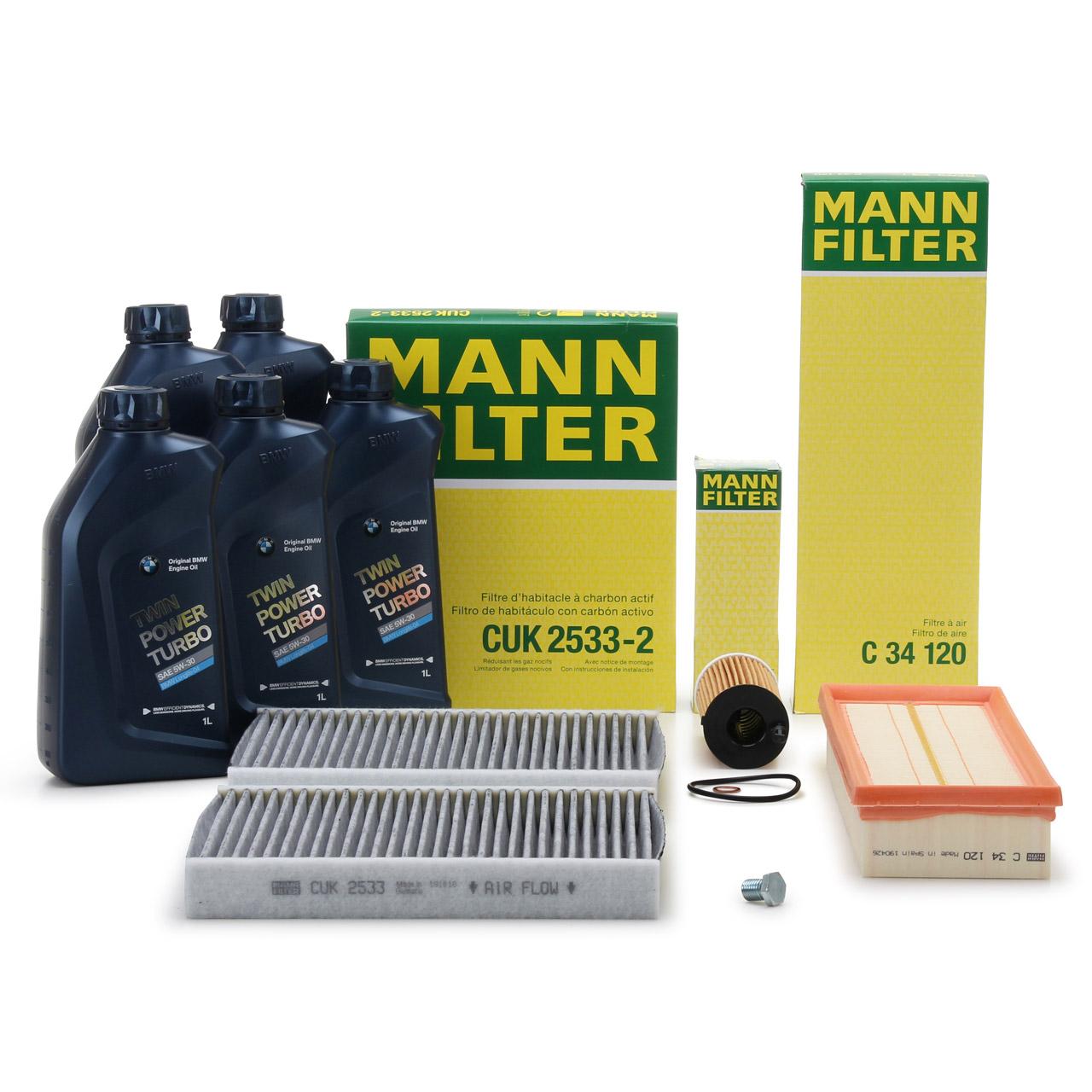 MANN Inspektionskit + 5 L ORIGINAL BMW 5W30 Motoröl für 5er F10 F11 518d 520d