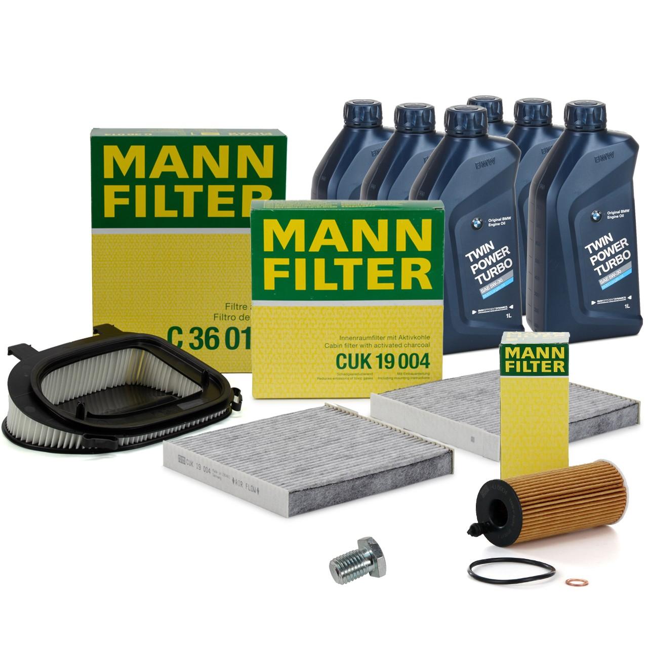 MANN Inspektionskit + 6 L ORIGINAL BMW 5W30 Motoröl für X3 F25 18d 20d 30d