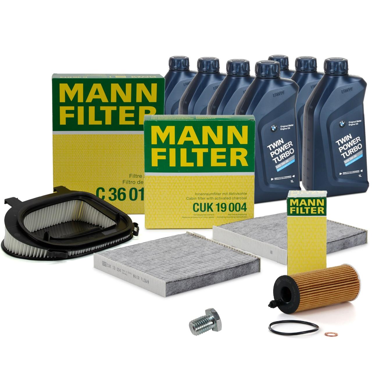 MANN Inspektionskit + 7 L ORIGINAL BMW 5W30 Motoröl für X3 F25 18d 20d 30d