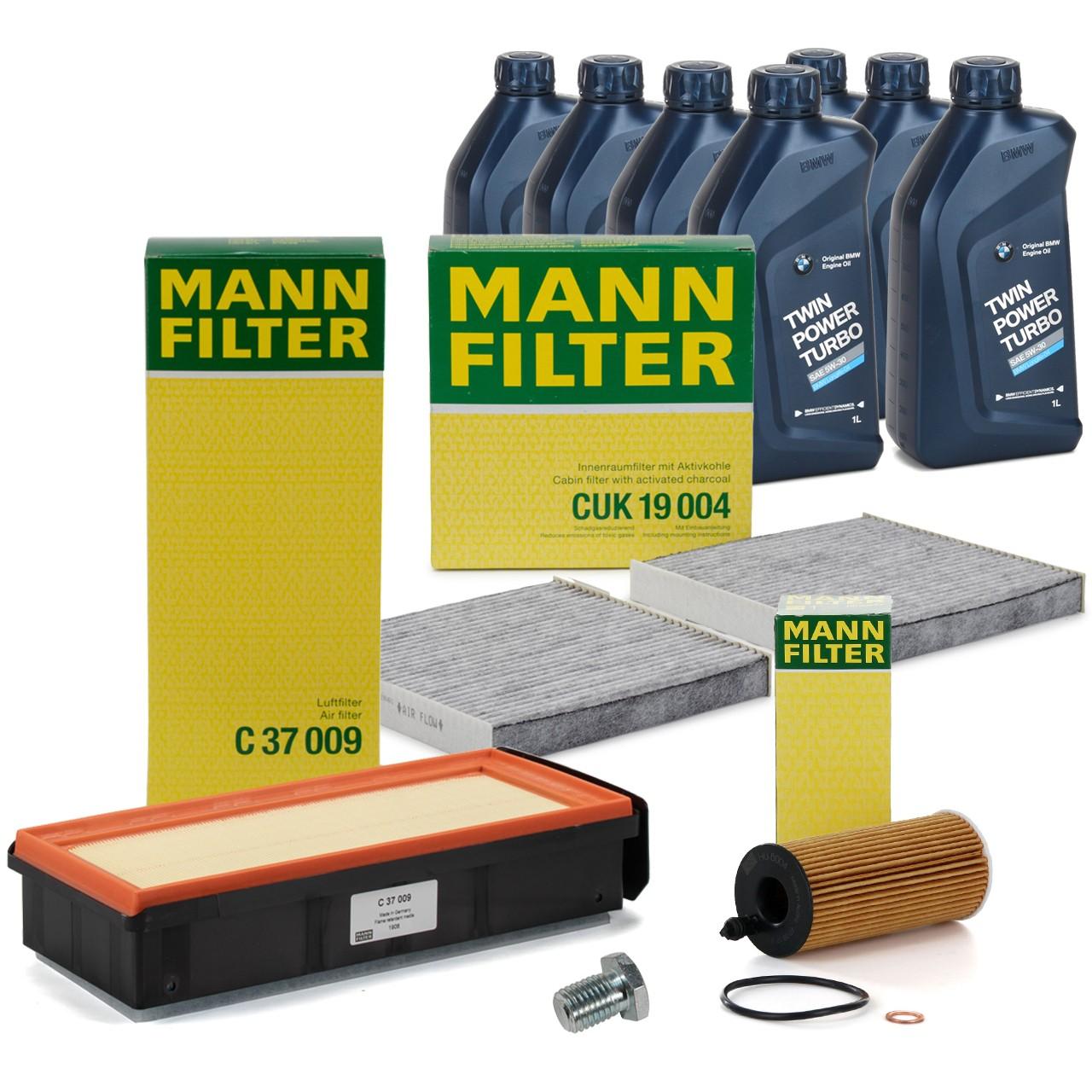 MANN Inspektionskit + 7 L ORIGINAL BMW 5W30 Motoröl für X3 F25 X4 F26 30d 35d