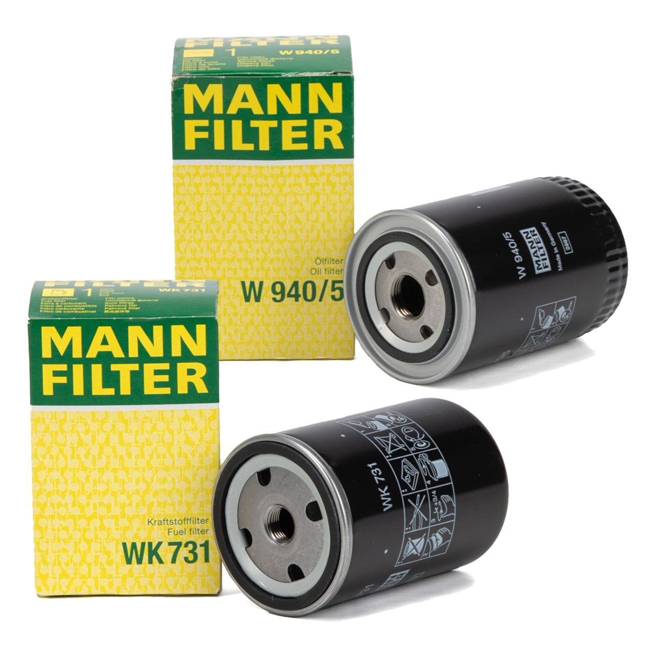 MANN WK731 + W940/5 Kraftstofffilter + Ölfilter Baumaschinen Traktor Mähdrescher