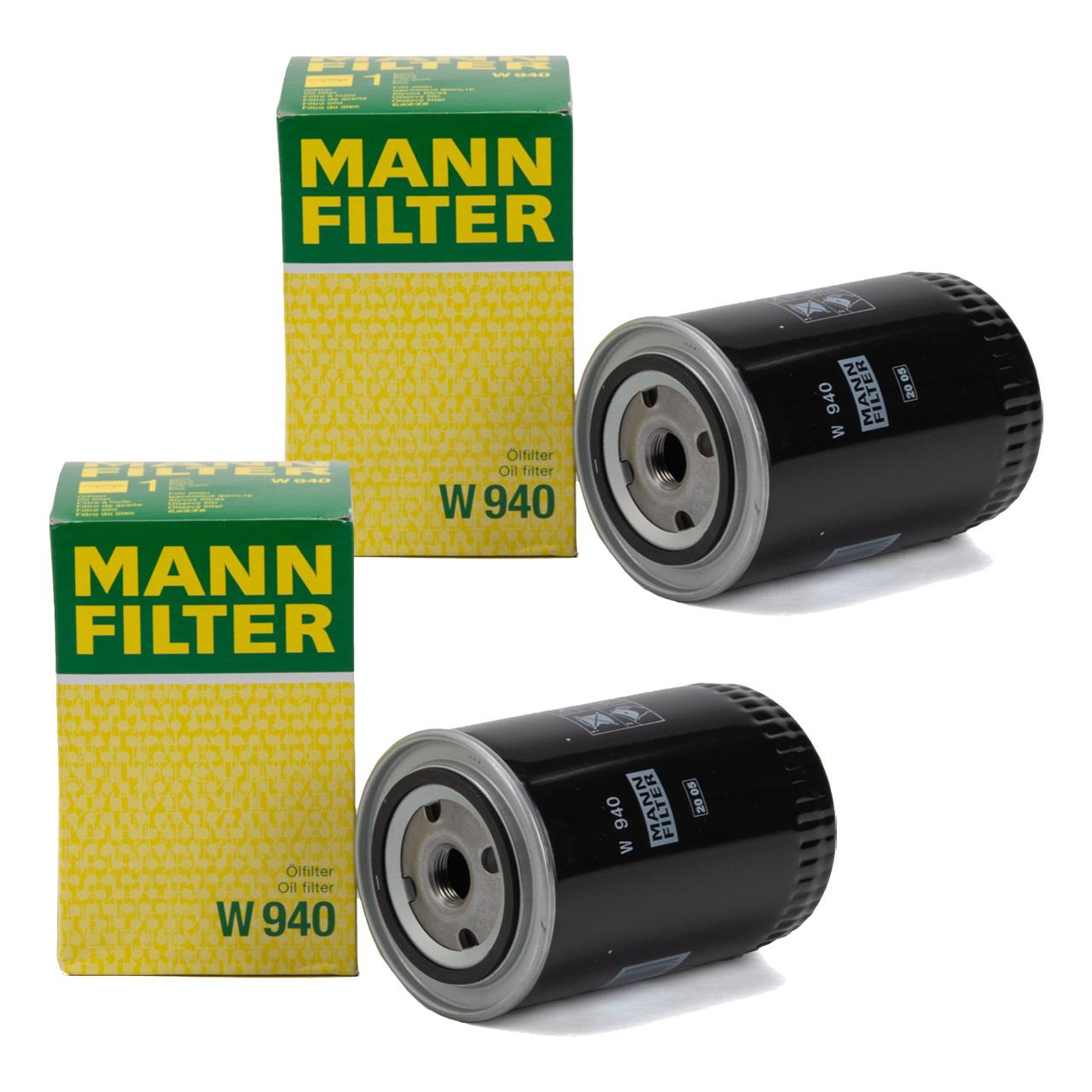 2x MANN W940 Ölfilter Motorölfilter für FENDT Farmer Favorit GT DEUTZ JOHN DEERE