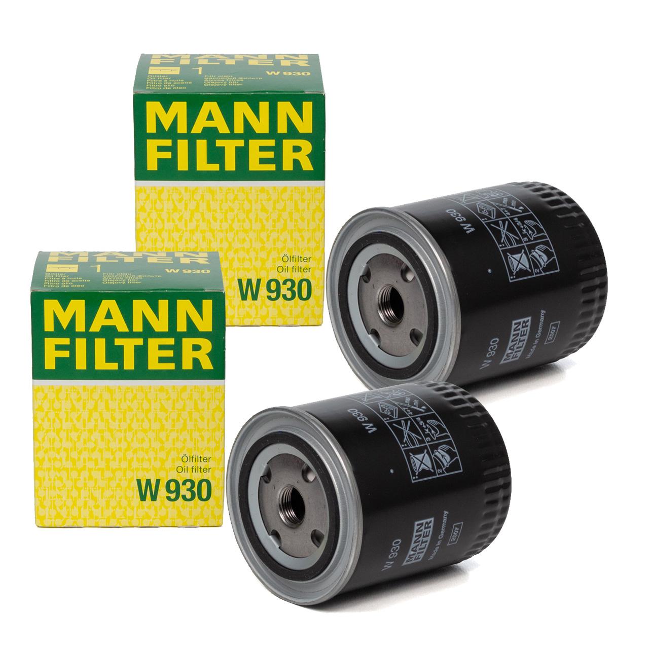2x MANN W930 Ölfilter Motorölfilter für FENDT FARMER / FAVORIT / GT - CASE IHC