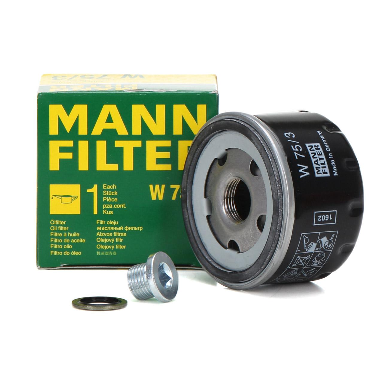 MANN W75/3 Ölfilter + Ölablassschraube RENAULT Clio Laguna Megane Scenic Twingo
