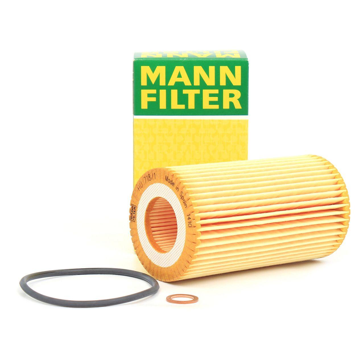 MANN Ölfilter Motorölfilter inkl. Dichtung HU718/1Z für BMW 3er E46 5er E39