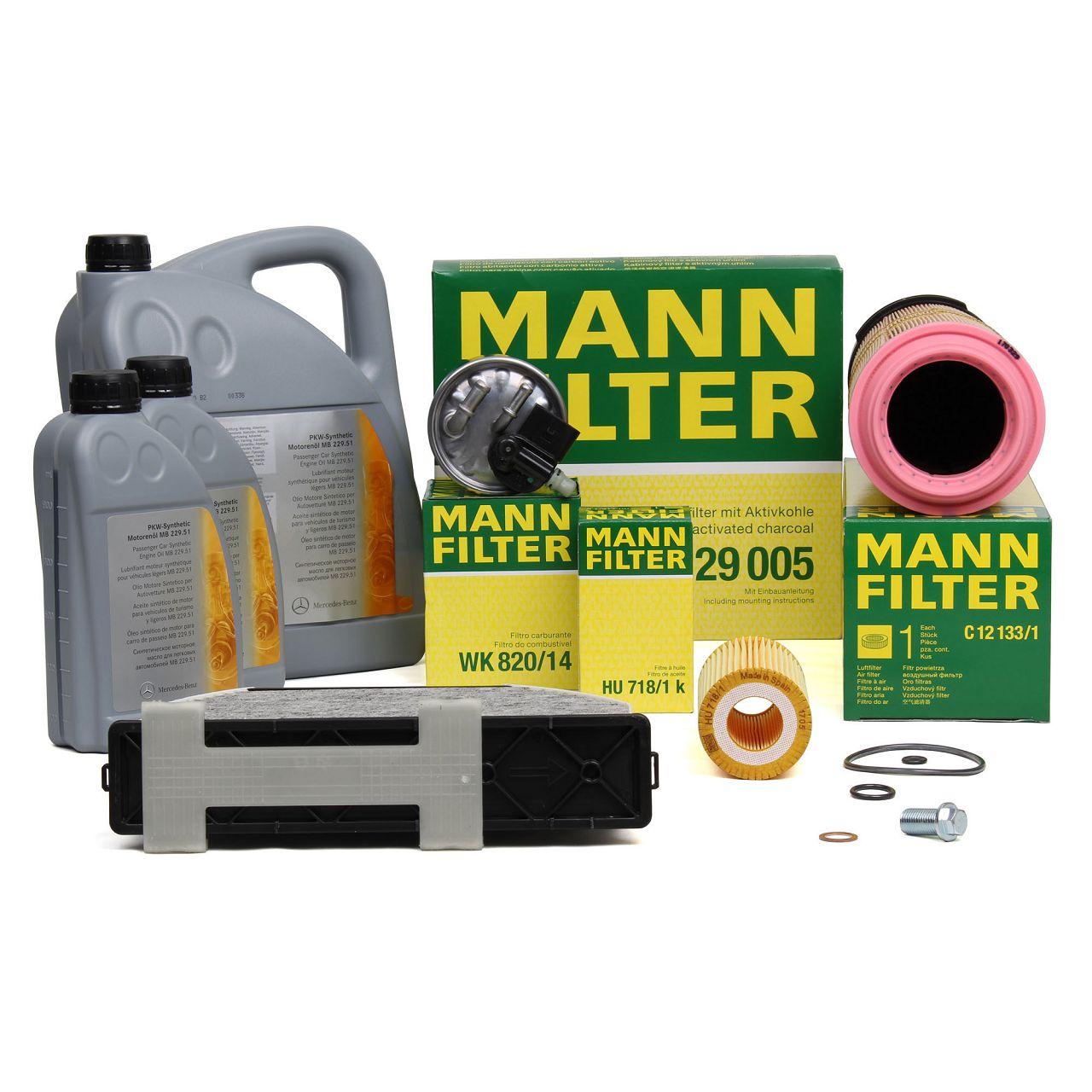 MANN Filterset 4-tlg + 7L ORIGINAL 5W30 Motoröl Mercedes-Benz W204 C220CDI OM646
