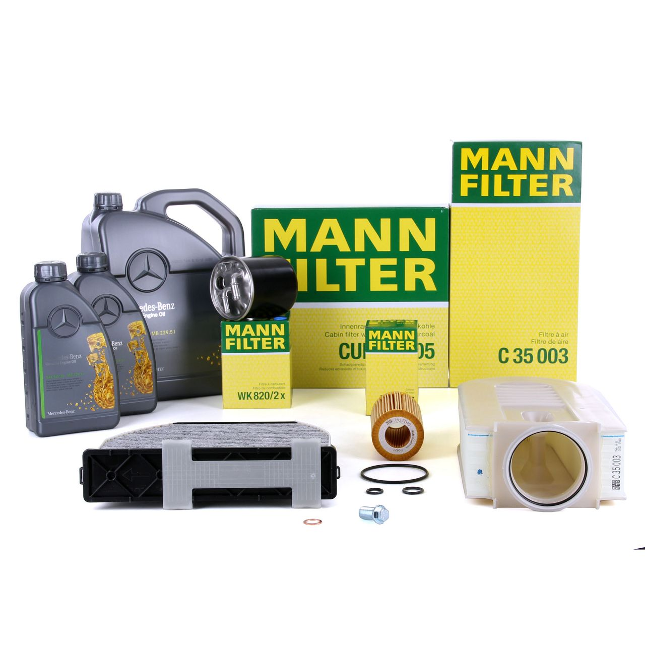 MANN Inspektionskit + 7 L ORIGINAL Mercedes 5W30 Motoröl W204 S202 X204 200/220/250CDI