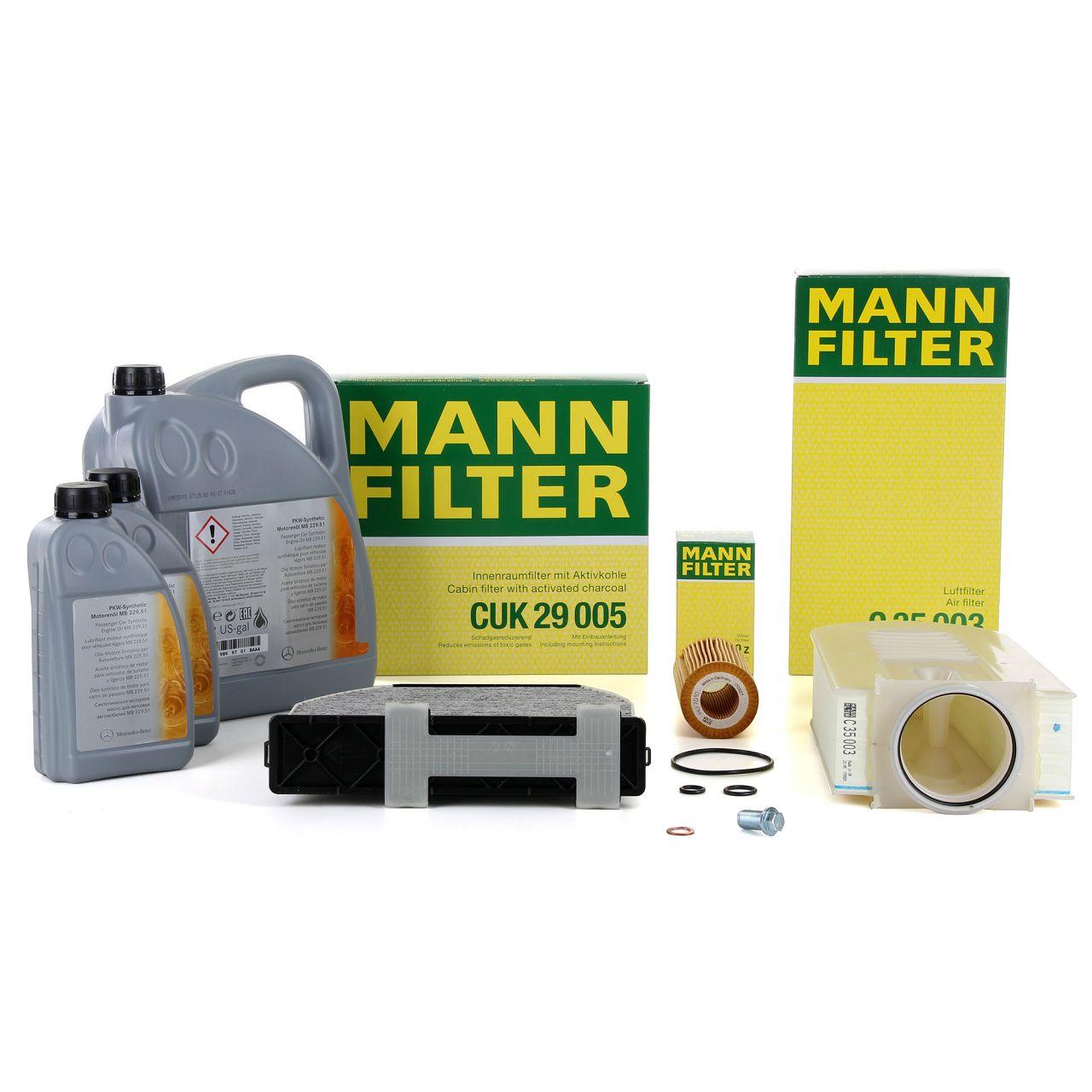 MANN Filterset + 7L ORIGINAL Mercedes 5W30 Motoröl C-Klasse W204 S204 C218 S212 W212 X204