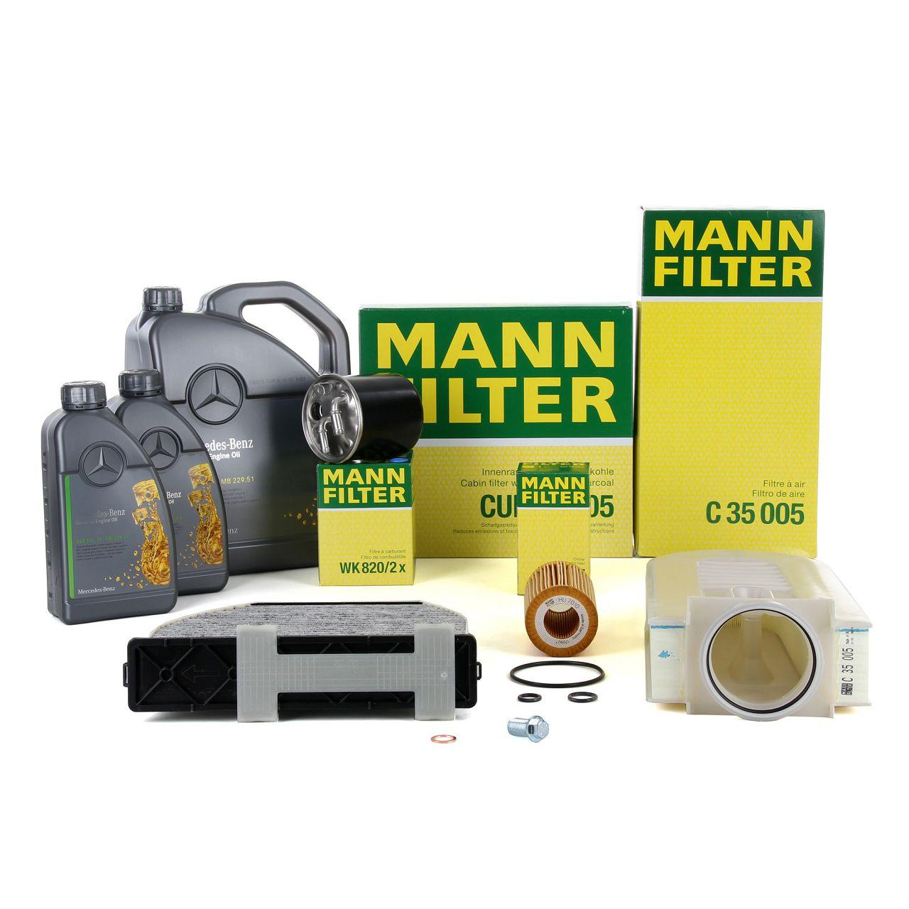 MANN Inspektionskit + 7 L ORIGINAL Mercedes 5W30 Motoröl W204 S212 X204 200/220/250CDI