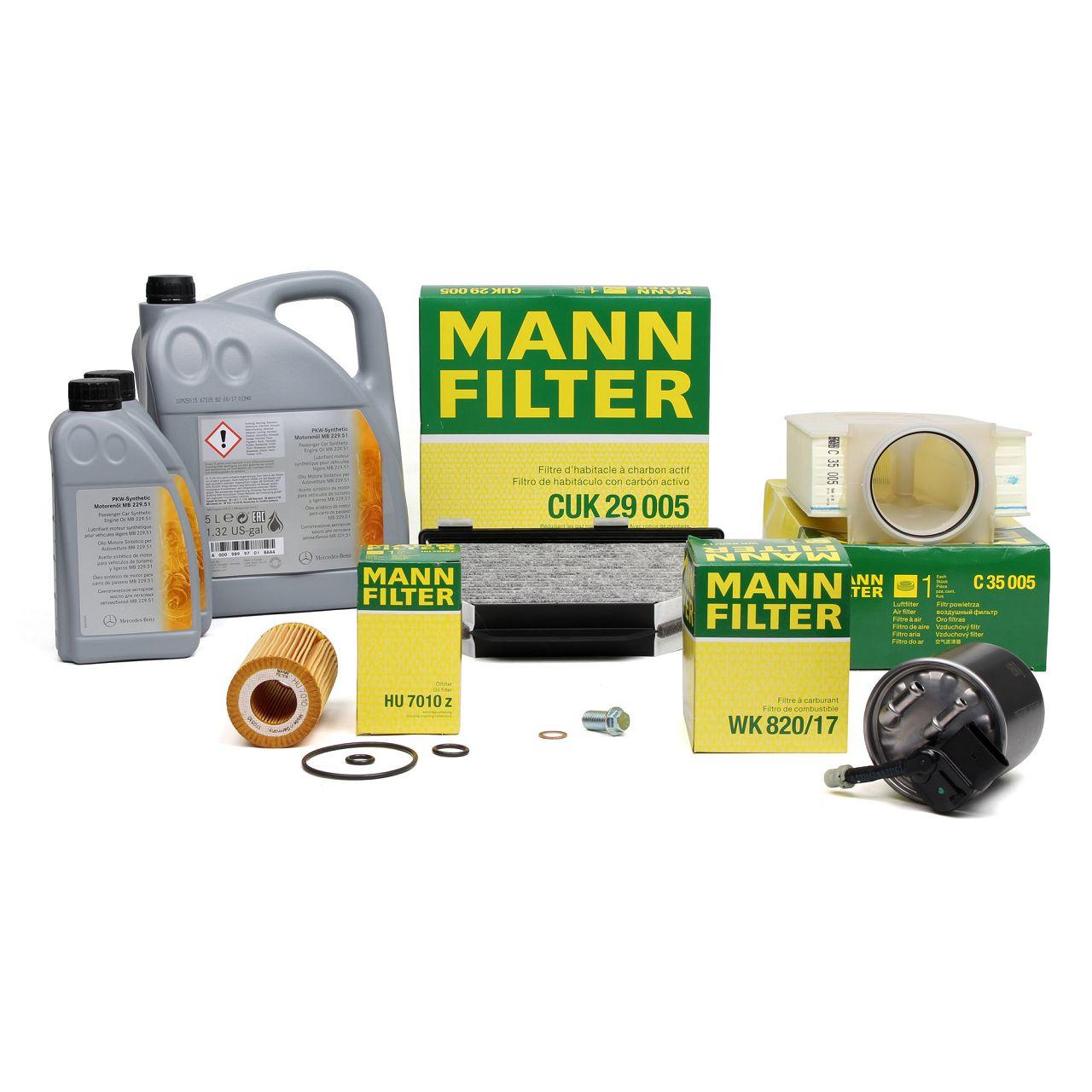 MANN Filterset + 7L ORIGINAL Mercedes-Benz Motoröl 5W30 C-Klasse W204 CLS C218 W212 X204