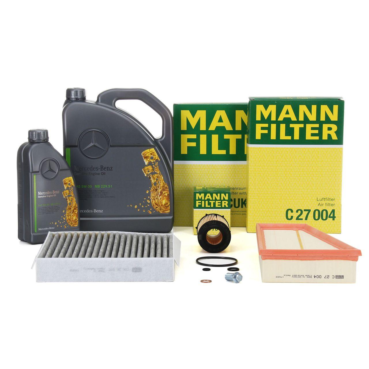 MANN Filterset + 6 L ORIGINAL Mercedes 5W30 Motoröl W176 W246 C117 X117 X156 M270
