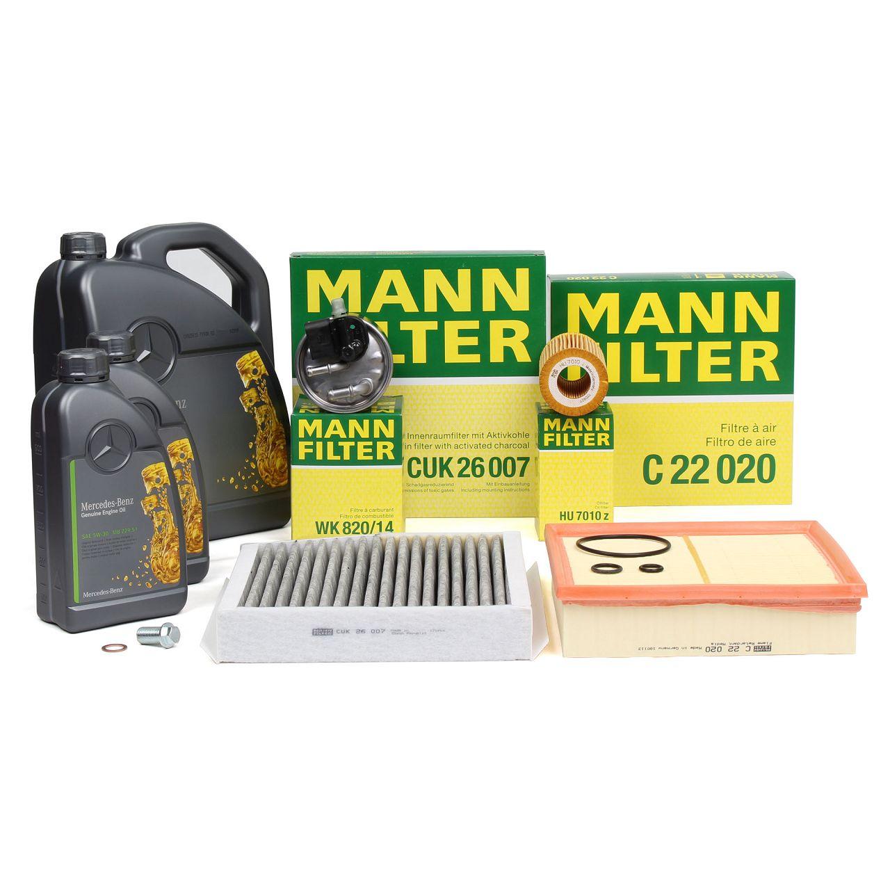 MANN Filterset + 7 L ORIGINAL Mercedes 5W30 Motoröl W176 W246 180-220CDI C117 X117 X156