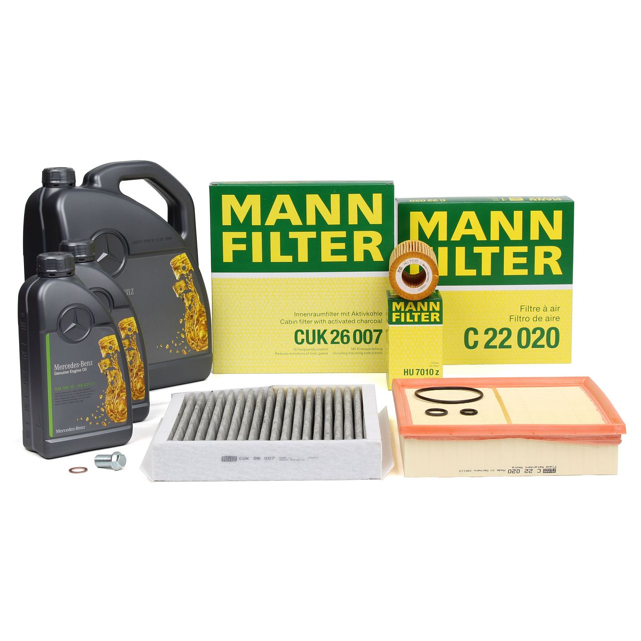 MANN Filterset + 7 L ORIGINAL Mercedes 5W30 Motoröl A-Klasse W176 B-Klasse W246 180-220CDI