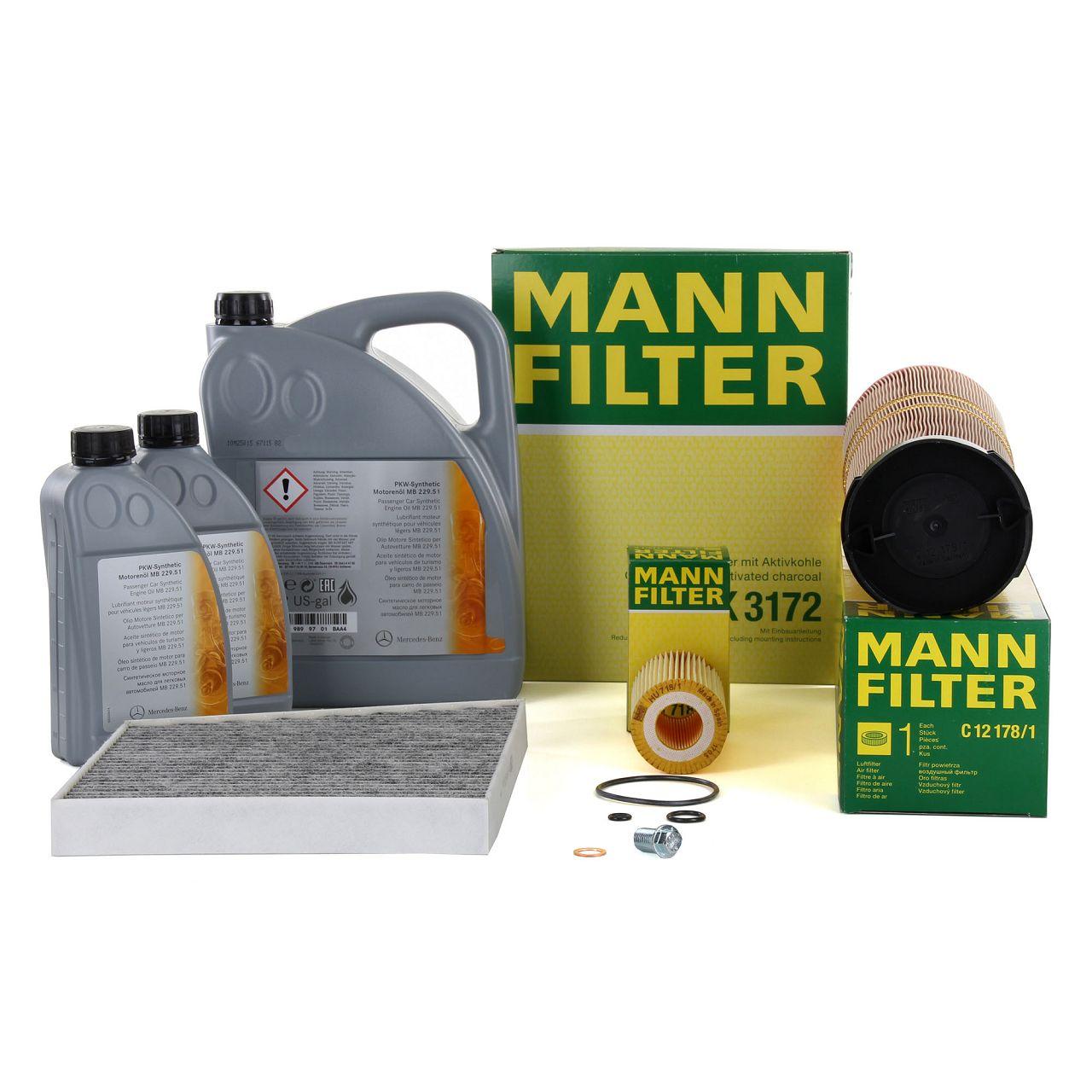 MANN Filterset + 7 L ORIGINAL Mercedes-Benz 5W30 Motoröl E-Klasse W211 S211 E220/270CDI