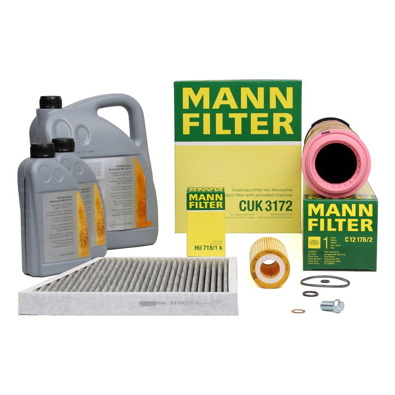 MANN Filterset + 7 L ORIGINAL Mercedes-Benz 5W30 Motoröl E-Klasse W211 S211 E200/220CDi