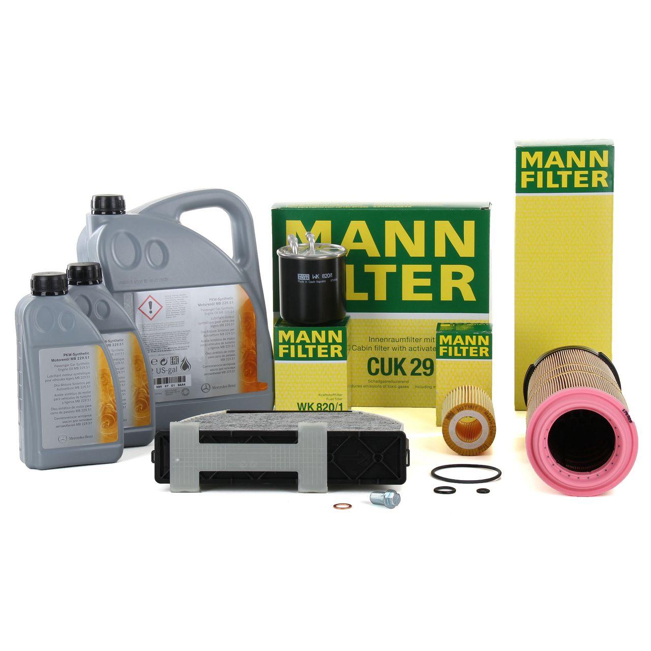 MANN Filterset 3-tlg + 7L ORIGINAL 5W30 Motoröl Mercedes-Benz W204 C200CDI C220CDI OM646